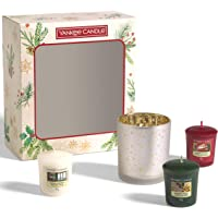 Yankee Candle Coffret cadeau | Bougies de Noël parfumées | 3 votives et 1 support | Collection Magical Christmas Morning