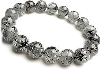 Neerupam Collection Natural Black Rutile Gemstone Round Shape Beads Bracelet