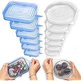 Fabsamb Tapas Silicona Ajustables Cocina Para Contenedores De Alimentos (12pcs) Tapaderas Elásticas Reutilizables Ecológicas,
