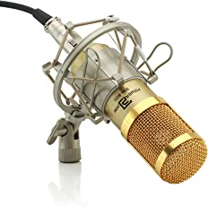 Powerpak BM-800 Silica Gel Professional Condenser Microphone With Metal Shock Mount (Requires Phantom Power Supply Or Sound Card Only) Gold