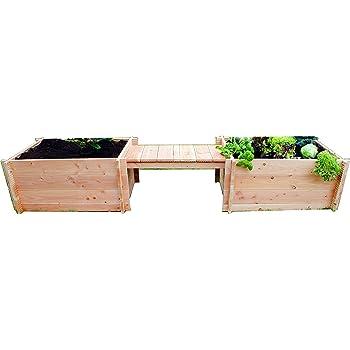 GrünerGarten Hochbeet, Grönplats mit Sitzbank, natur, 308 x 80 x 50 cm, GGHBGDB