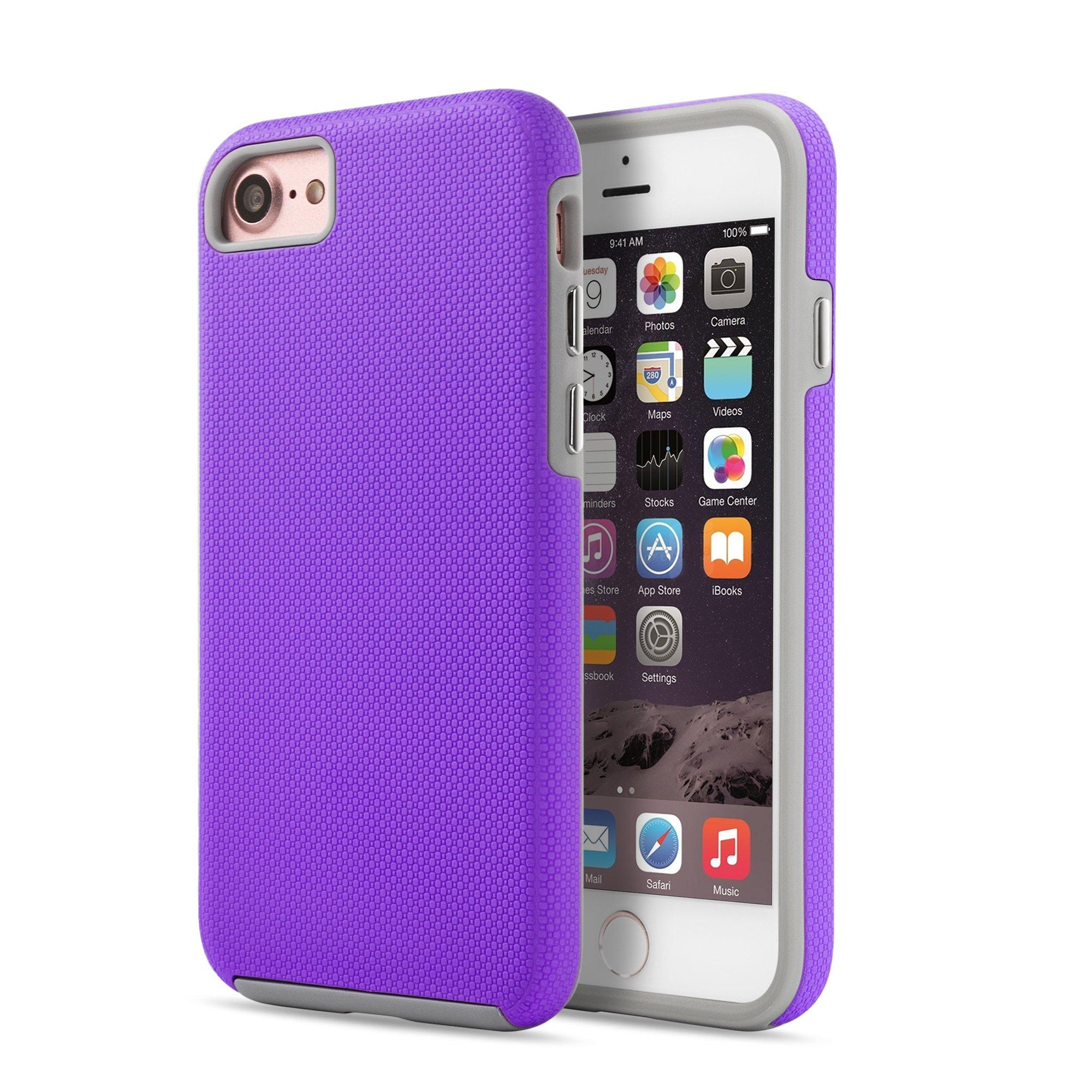 OKCS Anti Skip Caso per Apple iPhone 7 Custodia Protezione Hard Cover - Porpora