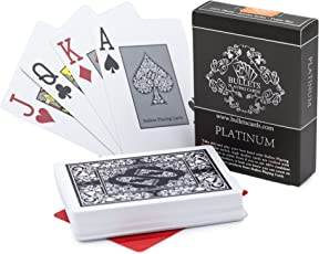 Bullets Playing Cards Premium Profi Plastik Pokerkarten Platinum mit Zwei Eckzeichen - Deluxe Kartenspiele mit Jumbo Index - Profi Premium Spielkarten für Texas Holdem Poker
