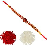 Aheli Fancy Rudraksha AD Ring Beads Rakhi with Roli Chawal Tilak for Men Boys (Golden) (R17450R)