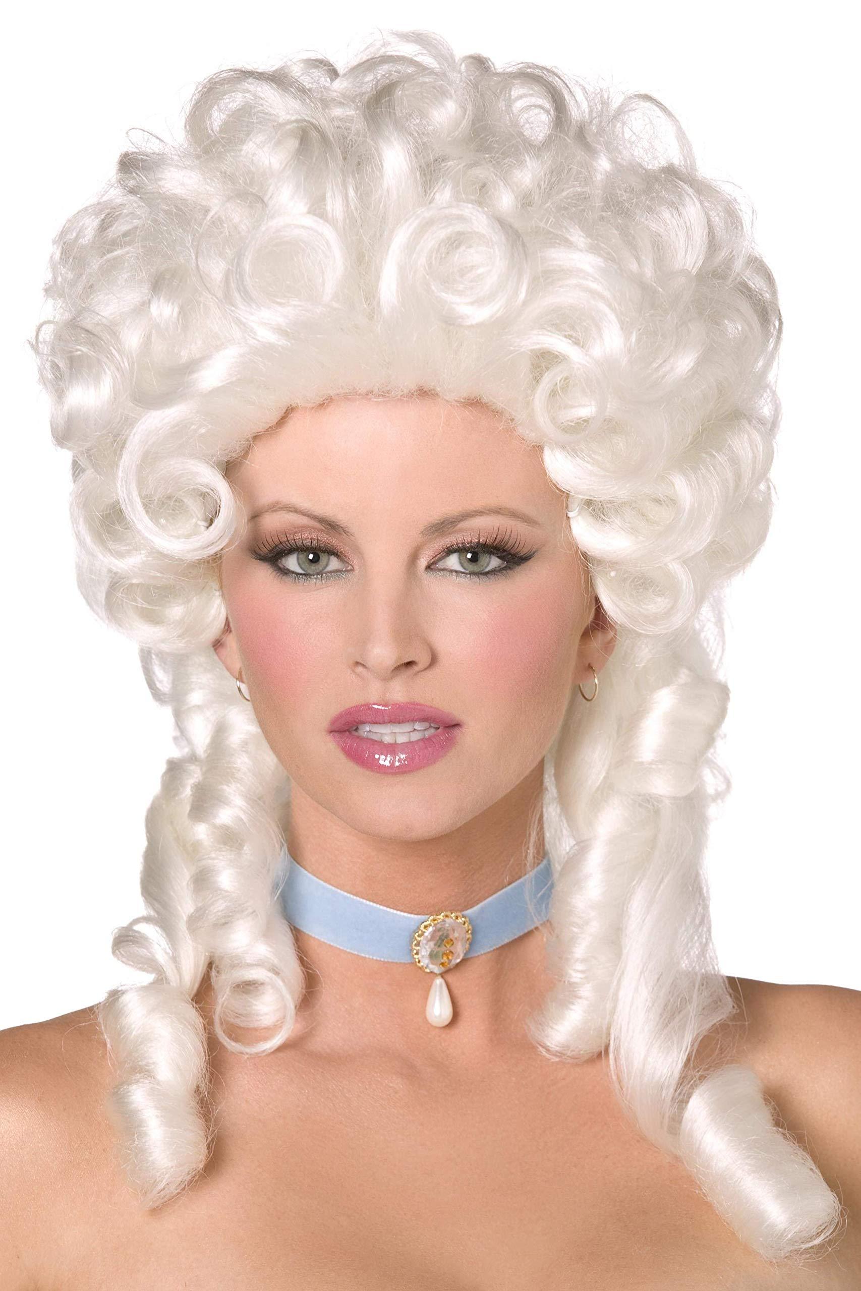SMIFFYS Smiffy's-Parrucca barocca, bianca, lunghezza spalle con boccoli Donna, Taglia unica, 42122 1 spesavip