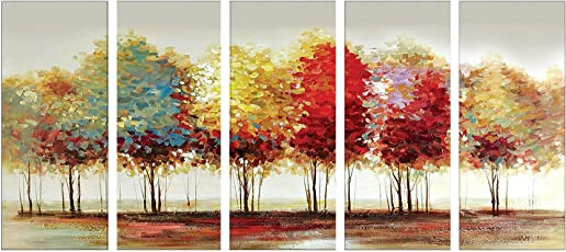 SAF Premium 5 Panel Trees Ink Painting (Synthetic, 24 inch x 50 inch, SONFL7914, Set of 5)