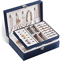 Voova Boîte à Bijoux pour Femme filles,Coffret à Bijoux avec 2 Niveaux Boite Portable et Présentoirs, Organisateur à…