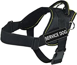 DT Fun Works Harness, Service Dog, Black with Yellow Trim, Large - Fits Girth Size: 32-inch to 42-inch