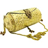 Trend Overseas Handmade Ethnic gift Brass Metal bag antique bridal clutch round long