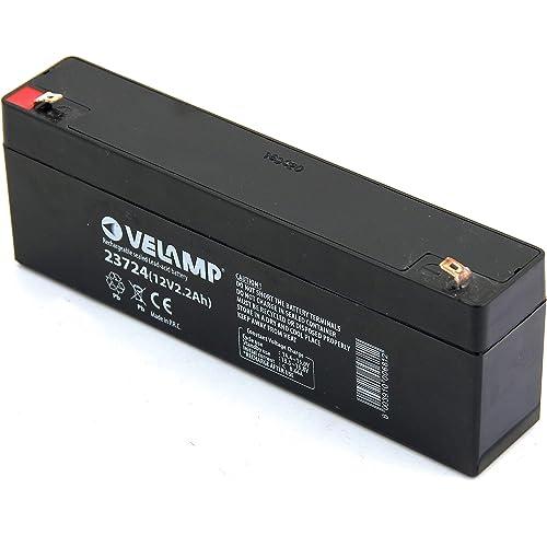 VELAMP 23724 Batteria Ricaricabile Piombo 12 V, 2.2 Ah. Ideale per ups, sistemi d'allarme. Attacchi Faston, Nero