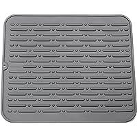 Tapis de Séchage Vaisselle XL en Silicone 45 x 40 cm Garantie à Vie GAINWELL (Gris)