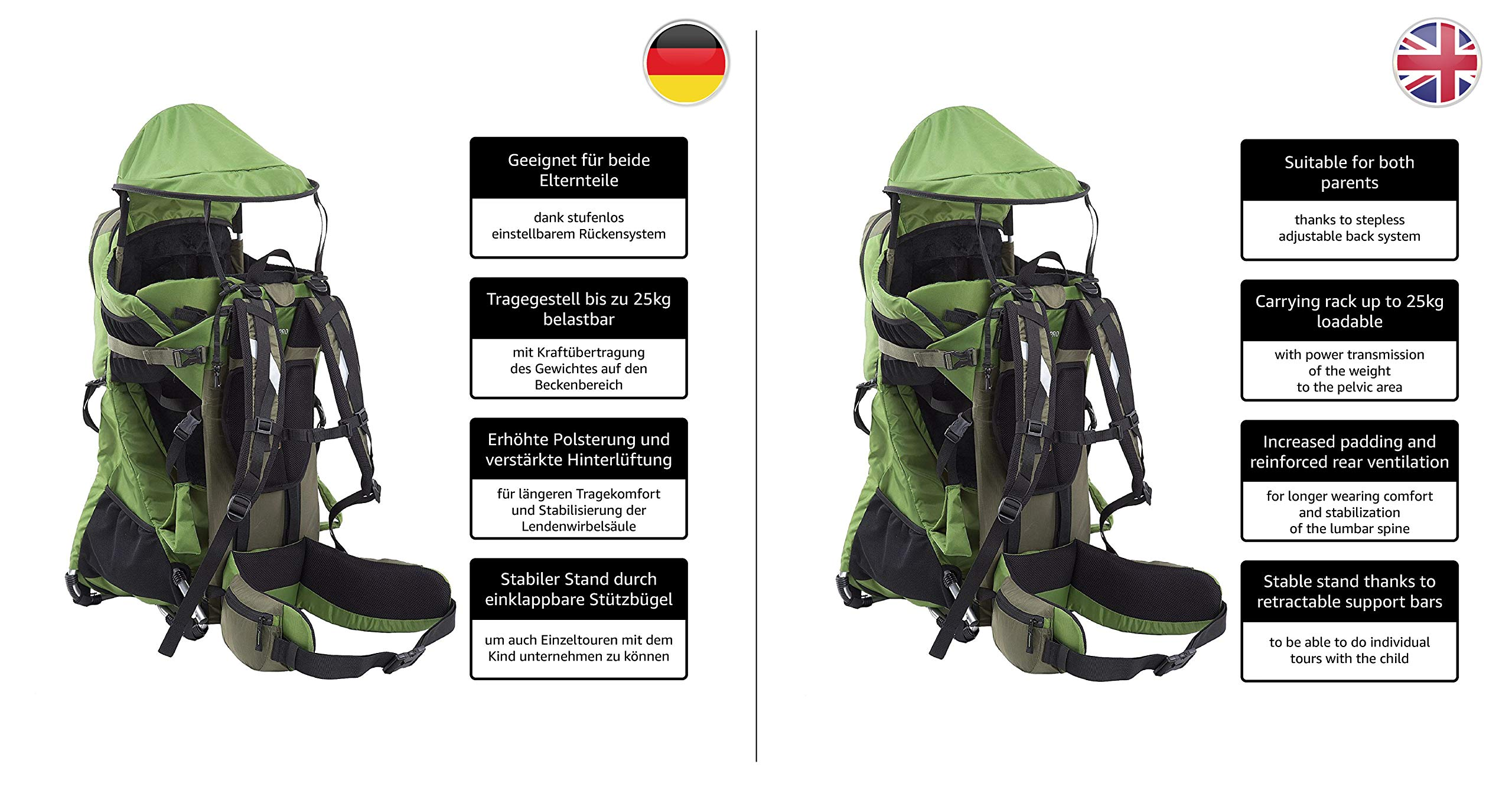 MONTIS RANGER PRO - Premium Backpack/Child Carrier - Holds up to 25kg M MONTIS OUTDOOR 89cm high, 37cm wide | Carries loads up to 25kg, seat bag 30L | Approx. 2.3kg (without extras) Easy-clean outer material | Fully-adjustable, padded 5-point child harness Super soft plush lining, raised wind guard, can be loaded from both sides | Fully-adjustable carry support system, additional ergonomic options for women | Comfortable waist belt for extended wearing with side pockets 4
