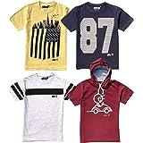chopper club Camisetas de algodón de ajuste regular Melange para niños, paquete de 4 camisetas impresas para uso diario