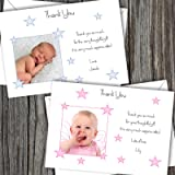 Personalised New Baby Photo Thank You Cards Boy Girl Birth Announcement (SBD8)