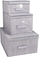 HomeStorie™ Foldable Non-Woven Storage Organizer Box with Lid