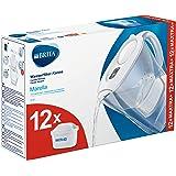 BRITAMarellablancaPack Ahorro – Jarra de Agua Filtrada con12cartuchos MAXTRA+, Filtro de agua BRITA que reduce la cal y