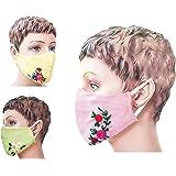 Eve's BOBBINHOOD Designer Hand Embroidered Mask for women, Set of 3, handmade, washable, reusable, Cotton (Set1)
