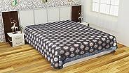 Indhira 300 TC Handloom Cotton Double Bedsheet - Blue