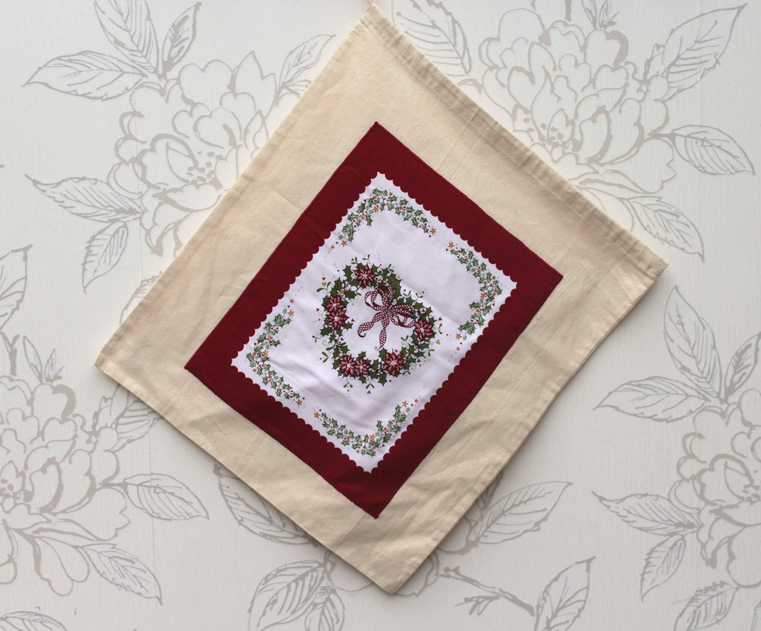 Christmas Poinsettias Drawstring Bag - handmade-bags
