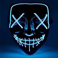 TK Gruppe Timo Klingler LED Grusel Maske blau - wie aus Purge für Halloween, Fasching & Karneval als Kostüm für Herren…