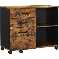 VASAGLE Caisson 3 tiroirs, Meuble Rangement Bureau avec Compartiments Ouverts, pour Format A4, Documents, Support d…