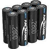 ANSMANN batteri AA typ 2 800 mAh NiMH 1,2 V – Mignon AA-batterier laddbara, hög kapacitet idealisk för hög strömförbrukning s