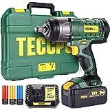 Clé à chocs sans fil, TECCPO 350Nm Boulonneuse a Choc avec 4.0Ah Batterie, 3 Douilles à Chocs pour Jantes Aluminium-17, 19, 21mm, 13mm Mandrin, Boulons de Roue, Boîte Compacte - TWID01P