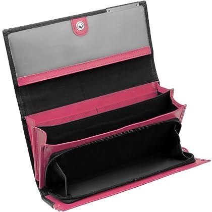 656e85717ef94 Cadenis Damen Geldbörse Geldbeutel Leder mit persönlicher Laser-Gravur  schwarz rosa Querformat 18