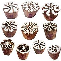 Royal Kraft Fabric Wood Stamps Artistic Small Round Design Printing Blocks - Set of 10