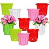 Kraft Seeds Gate Garden! 10 Inch Flower Pots - Durable, Reusable, Spectacular Design, Lightweight with Drainage Hole Set of 8