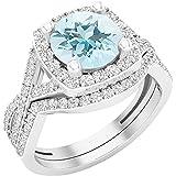 Dazzlingrock Collection - Juego de anillos de boda de 8 mm con piedras redondas y circonitas cúbicas blancas, plata de ley