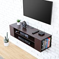 FITUEYES TV Cabinet Stand Wall Mounted AV Shelf for 32-60 inch TV, Walnut DS210001WB