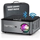 TOPTRO 5G Proiettore WiFi Bluetooth 8000 Lumens con Custodia da Trasporto, Proiettore 1080P Nativo Aggiornato, Supporto 4D Ke