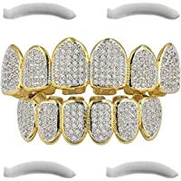24K Plated Gold Silver Diamonds Fangs Joker Gold Grillz for Mouth Top Bottom Hip Hop Teeth Grills for Teeth Mouth + 2 Extra Molding Bars + Cloth Post Malone Costume (Micropave Diamonds - Gold)