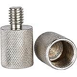 Neewer Nickel Messing haltbar solide 2 Stück 3/8-Zoll-Stecker auf 5/8-Zoll-Schraubgewinde-Adapter für Mikrofonhalterungen und Ständer (Silber)