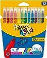 BIC Kids Kid Couleur Feutres de Coloriage à Pointe Moyenne - Couleurs Assorties, Etui Carton de 12