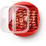Lékué 0220250R14M150 magnetronpan met deksel, kunststof, 45 x 35 x 25 cm, rood
