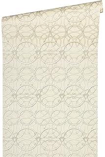 Carta da parati in tessuto non tessuto 10,05 x 0,70 m con decorazioni colore: grigio metallizzato//bianco Versace 370485 37048-5