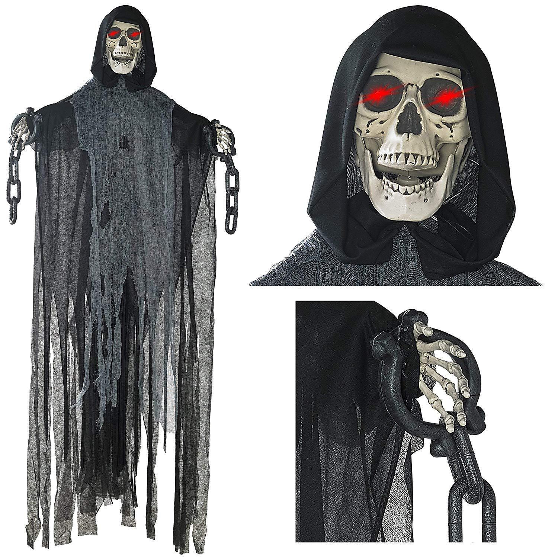Prextex 152cm animierter hängender Grim Reaper mit Schädel und Kettenfesseln für die gruseligste Dekoration zu Halloween