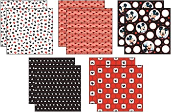 "Disney Paper Pack 12""X12"" 10/Pkg-Mickey Black, White Red; 5 Designs/2ea"