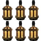 DiCUNO E27 Vintage solide lamphouder Keramische lamphouder Edison Schroef gloeilamp Socket Adapter, Vintage messing van 6 Stu