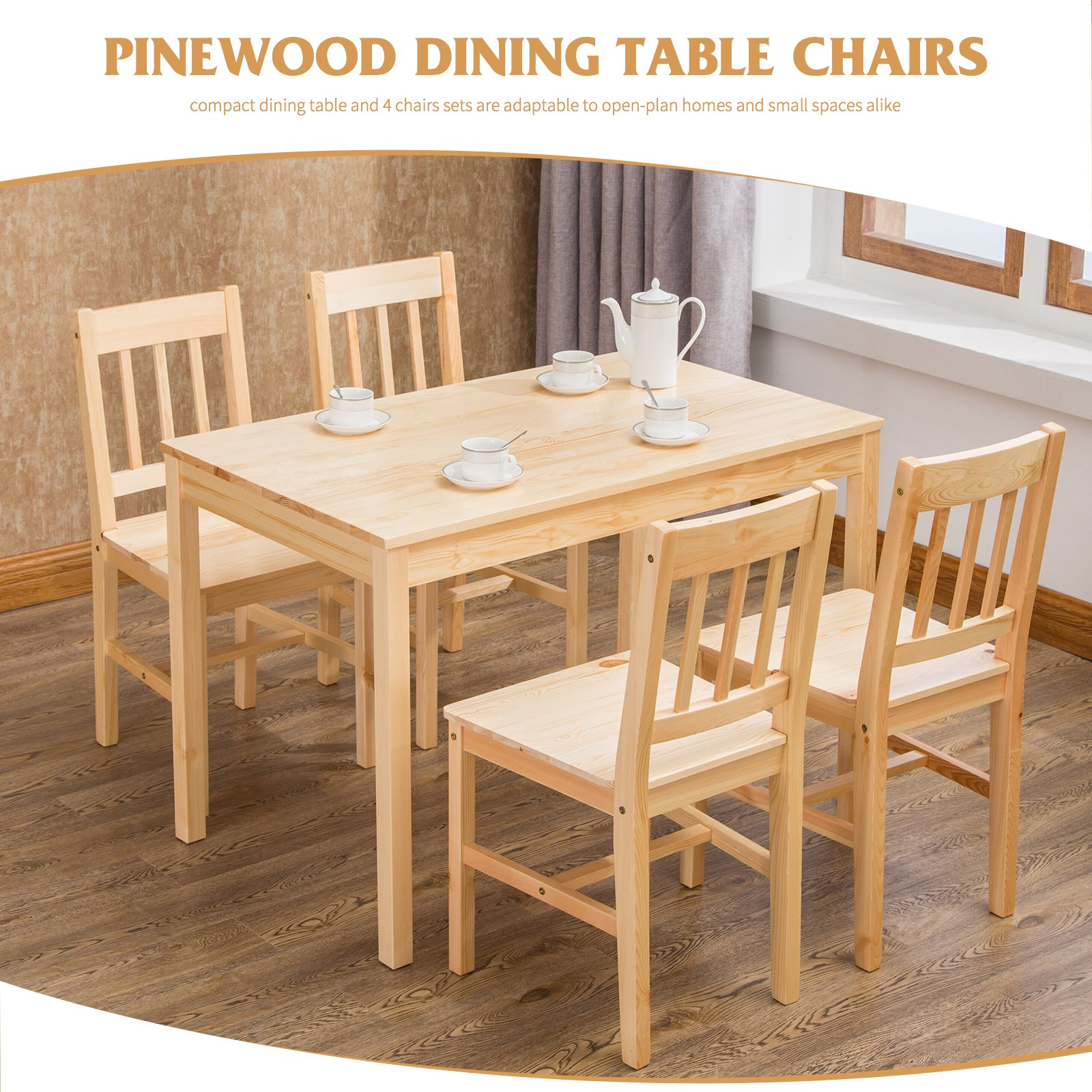 Small dining table and chairs set solid pine wood kitchen furniture with 4 seats