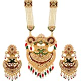 WUJO necklace set for women,necklace for women traditional latest, Long set Rani Haar for women wedding,Pearl necklace gold p