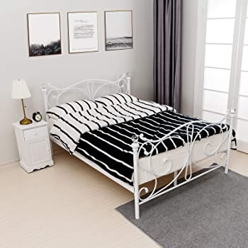 Aingoo Metal Double Bed 4ft 6 Bed Frame Solid Bedstead