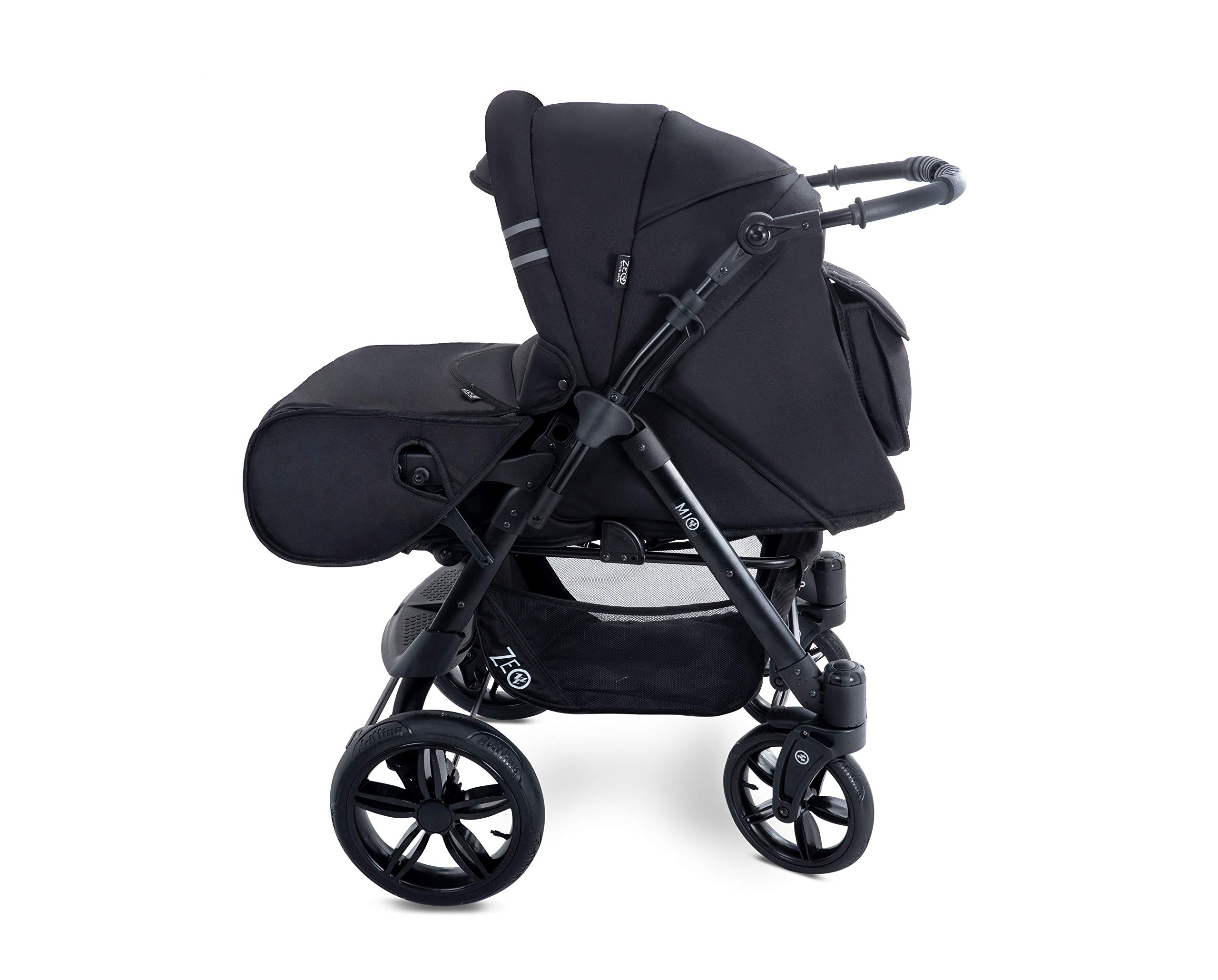 Baby Pram Zeo Mio 3in1 Set - All You Need! carrycot Gondola Buggy Sport Part Pushchair car seat (M1)  3 in 1 combination stroller complete set, with reversible handle to the buggy, child car seat or baby carriage Has 360 ° swiveling wheels, two-fold suspension, four-stage backrest, five-position adjustable footrest and a five-point safety belt The stroller can be easily converted into other functions and easy to transport 4