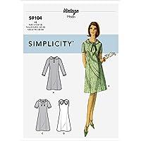 SIMPLICITY Patrons de couture S9104 pour robes vintage avec manches et décolleté, variés, R5 (42-46-48-50)