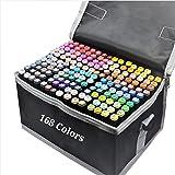 Spritpennor med 168 färger, dubbla spetsar, permanenta konstmarkörer, pennor för barn och vuxna, penselmarkörer, överstryknin
