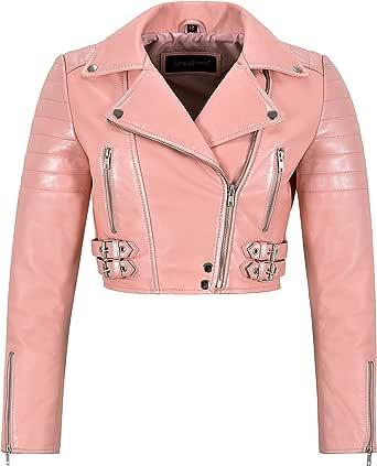 Smart Range Leather Giacca da Donna in Pelle Rosa Baby Giacca da Moto Corta Bianca Effetto Perla 5625