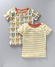 Nino Bambino 100% Pure Organic Cotton Round Neck Short Sleeve Multicolor Striped & Printed T-Shirts For Baby Boy (Pack Of Two)