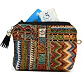 Boho Coin Purse for Women with Zip, Mexican Wallet Small Women, Oyster Card Holder Cute Coin Pouch Money Purse